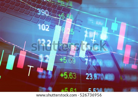 Charts of financial instruments with various type of indicators including volume analysis for professional technical analysis on the monitor of a computer. Fundamental and technical analysis concept. #526736956