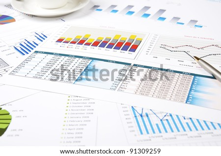 charts of growth, tables , workplace businessman
