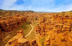 Charyn canyon in Kazakhstan landscape. Great Charyn canyon panorama. USSR canyon