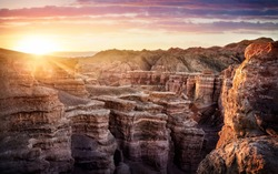 Charyn grand canyon at surise in Kazakhstan