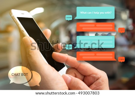 Chat bot and future marketing concept , Chatbot icon , Hand holding mobile phone with automatic message screen with abstract background #493007803