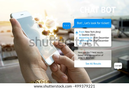 Chat bot and future marketing concept . Customer hand holding tablet look for ticket and popup out smart phone screen with automatic chatbot message screen , airport background