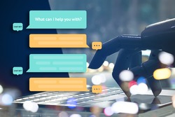 Chat bot and future marketing concept. Robot finger point to laptop button with automatic message popup.