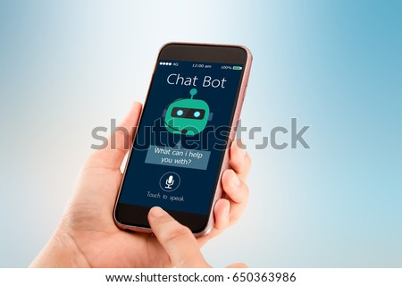Chat bot concept.Hands holding mobile phone on blurred abstract background