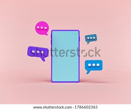 chat bubbles and smartphone isolated on pastel pink background. concept of social media messages, SMS, comments. minimal style. 3d rendering