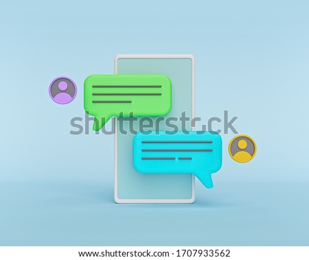 chat bubbles on a smartphone. concept of social media messages, SMS, comments. minimal style. 3d rendering