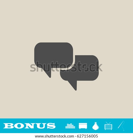 Chat with dialog clouds icon flat. Simple gray pictogram on light background. Illustration symbol and bonus icons real estate, ottoman, vase, tv, fishing rod