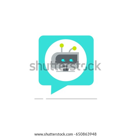Chatbot in chatting bubble speech icon, chat bot service logo isolated on white background, robot head clipart image