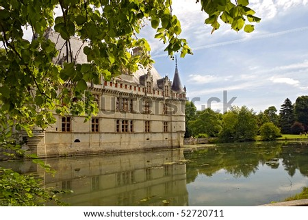 Chateau d'Azay-le-Rideau on an island in a nearby river - stock photo