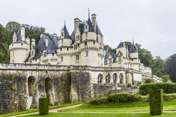 Chateau d'Usse (XV - XVI century) located in commune of Rigny-Usse in Indre-et-Loire department, France. Stronghold at edge of Chinon forest overlooking Indre Valley was first fortified in XI century.