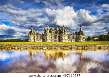Chateau de Chambord, royal medieval french castle and reflection. Loire Valley, France, Europe. Unesco heritage site. #497112787