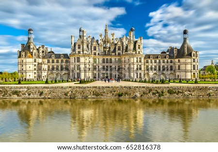 Chateau de Chambord, the largest castle in the Loire Valley. A UNESCO world heritage site in France. Built in the XVI century, it is now a property of the French state #652816378