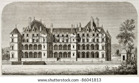 Chateau de Madrid old view, Bois de Boulogne, Paris surroundings (demolished at the end of 18th century). By unidentified author, published on Magasin Pittoresque, Paris, 1842