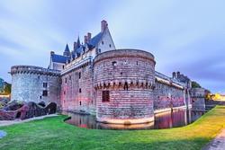 Chateau des Ducs de Bretagne with unusual illumination  in Nantes, France