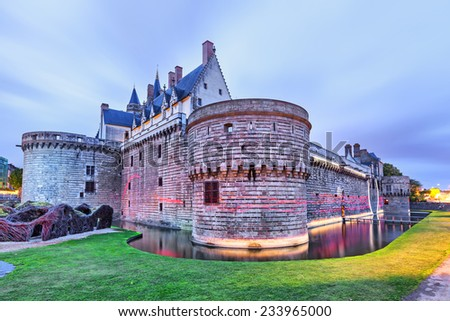 Chateau des Ducs de Bretagne with unusual illumination  in Nantes, France
