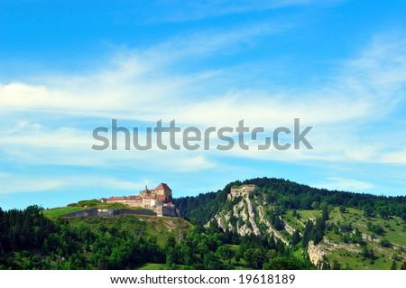 chateau du joux france, Pontarlier Photo stock ©