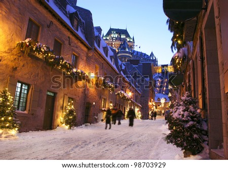 Chateau Frontenac at dusk, Quebec City, Canada