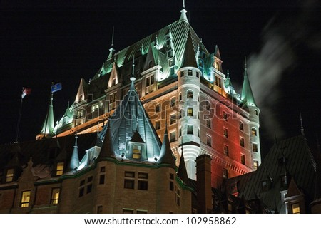 Chateau Frontenac at the night, Quebec City, Canada.