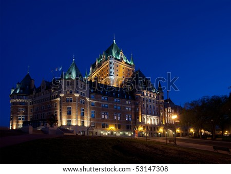 Chateau Frontenac in Quebec City at dusk side view