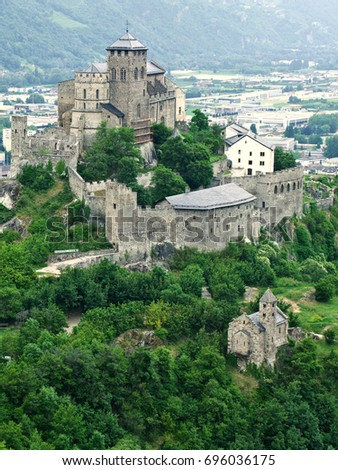 Chateau Valere/Chateau Valere as seen from above at the ruins of Chateau Tourbillon. #696036175