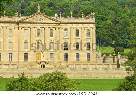 CHATSWORTH, UK - JUNE 19, 2013: Chatsworth House (in the Peak District, England), home of the Duke and Duchess of Devonshire (Cavendish family) is the Country's most visited stately home.