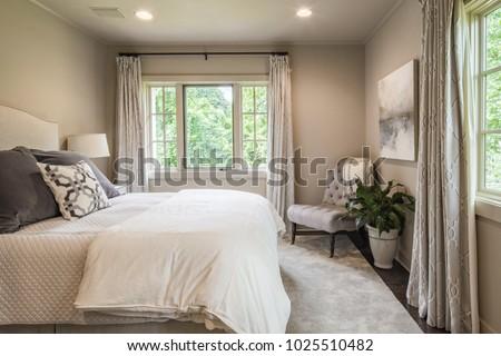 Chattanooga, TN / USA - 081017: Mtn City Construction home bedroom interior