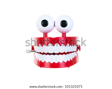 Chattering teeth on a pure white background