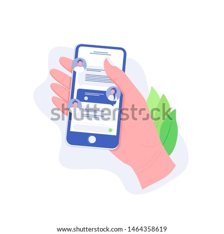Chatting on smartphone, online conversation with texting message concept. Hand holds smartphone with chat messages. Messaging using mobile phone. Trendy flat style.