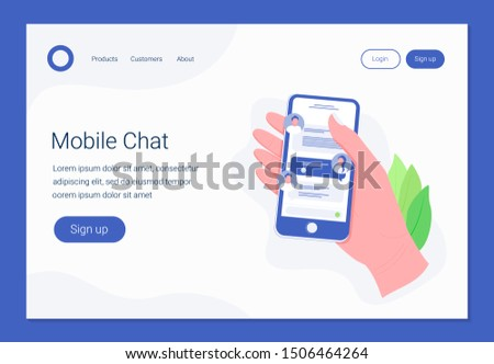 Chatting on smartphone, online conversation with texting message concept. Hand holds smartphone with chat messages. Messaging using mobile phone. Landing page template. Trendy flat style. .