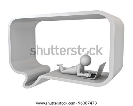 Chatting online concept, 3d man lie down in speech bubble using laptop computer isolated on white background