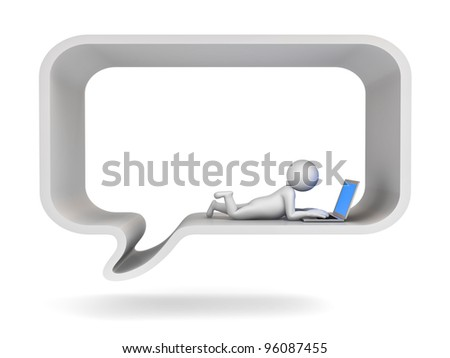 Chatting online concept, 3d man using laptop computer in speech bubble on white background