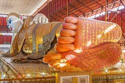 Chauk htat gyi reclining buddha (sweet eye buddha), yangon, myanmar