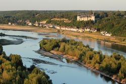 Chaumont-sur-Loire village, the Loire river and castle seen from the sky, Loir-et-Cher department (41), Centre-Val de Loire region, France