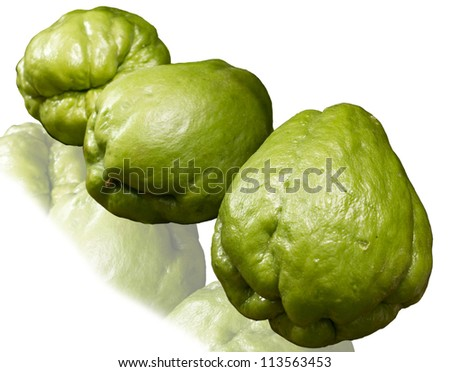 chayote also known as christophene or christophine, pear squash, vegetable pear,  chouchoute, choko is an edible fruit  belonging to the gourd family cucumbers and squash