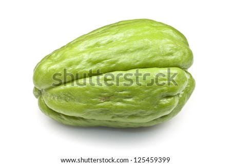 Chayote squash, also known as choko, against a white background.