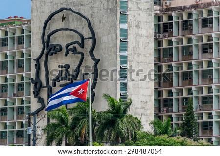 Shutterstock Che Guevara and Cuban flag. La Havana, Cuba.