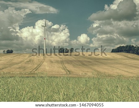 Cheap energy. Wind energy turbines in wheat field with blue sky, Renewable electric energy source, Green energy nature friendly. Wind generator on cloudy sky  #1467094055