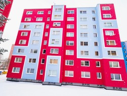 Cheap flats building, town suburban architecture in Central and East Europe.