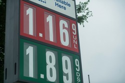 cheap gas price sign for unleaded and diesel