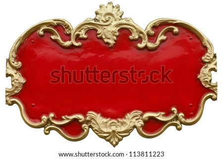 Cheap looking Baroque gold ornamental frame around a gaudy red fill. Ready for your text.