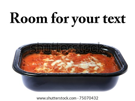 "Cheap ""Microwave TV Dinner"" Lasagna, isolated on white.  Room for your text"