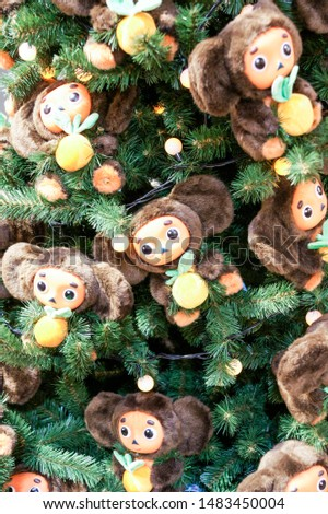 Cheburashki in the branches. Christmas tree decorations and decorations in the design. #1483450004