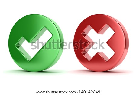 Check and cross mark 3d icons