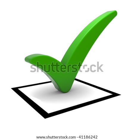 Check box with green check mark isolated on white. Part of a series.