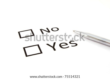 Check boxes and pen isolated on the white
