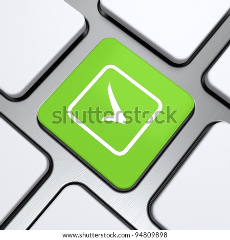 check icon on a button keyboard, 3d render