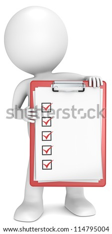 Check list. 3D little human character holding a clipboard with check list. Red. People series.