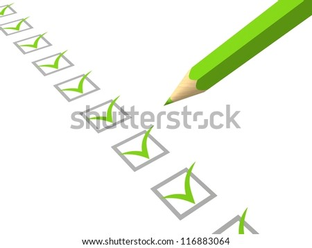 Check list with green pencil on white background