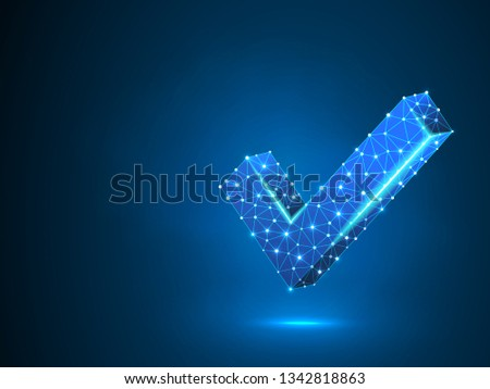 Check mark abstract neon image. Polygonal Raster business concept of success, agreement, ok illustration. Low poly wireframe, geometry triangle, lines, dots, polygons on blue background