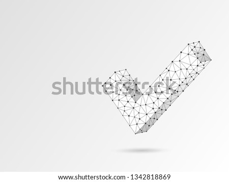 Check mark abstract origami image. Polygonal Raster business concept of success, agreement, ok illustration. Low poly wireframe, geometry triangle, lines, dots, polygons on white background